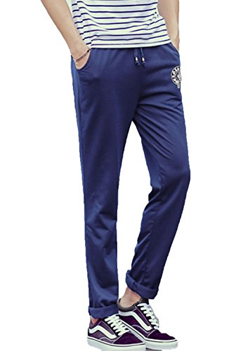 XueYin Men's Slim Casual Wear Cotton Pants(navy blue,XXXXXL size)