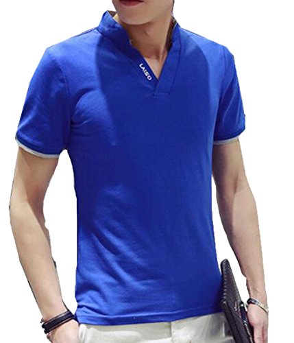 Generic Men's Turn-down Collar Solid Color Casual Slim Polo shirts Blue US L