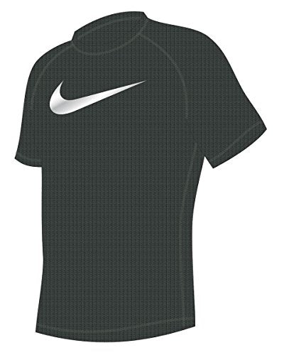 Nike Men's Solid Heather Short Sleeve Rash Guard S Black