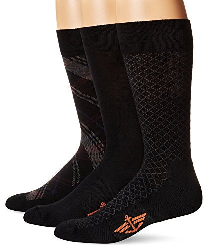Dockers Men's 3 Pack Cushion Dress - Ultimate Fit Tartan Plaid Crew Socks, Black, 10-13 Sock/6-12 Shoe
