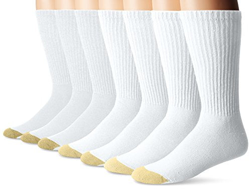 Gold Toe Men's Cushioned Cotton Crew 7-Pack, White, Sock Size:10-13/Shoe Size: 6-12