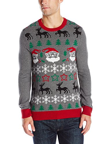 Ugly Christmas Sweater Men's All Over Xmas, Grey Heather, Small