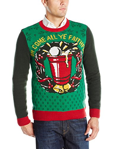 Ugly Christmas Sweater Men's Oh Come All Ye Faithful, Emerald, Medium