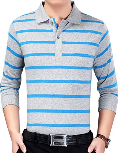 XI PENG Men's Formal Slim Fit Striped Cotton Long Sleeve Dress Polo Shirt (Small, Blue Grey)