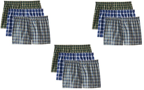 Fruit of the Loom Men's 9-Pack Plaid Boxer Shorts Boxers Underwear XL