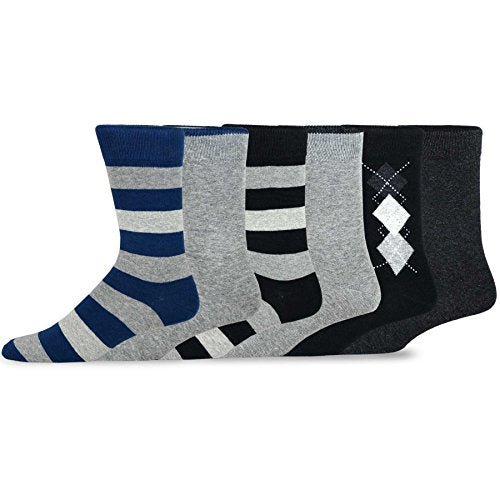 TeeHee Men's Cotton Crew Dress Socks 6-pack (Dark Argyle)