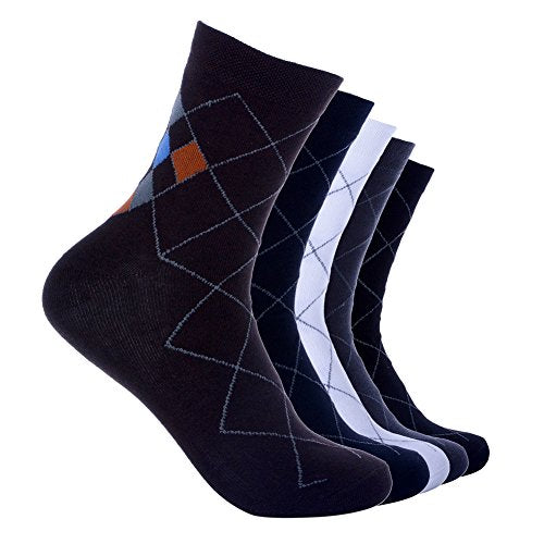 Yantu Men's 5 Pairs Cotton Stripe Patterned Warm Ankle Sport Athletic Sock Casual High Dress Crew Socks with box
