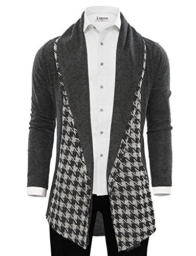 Tom's Ware Mens Classic Fashion Marled Open-Front Shawl Collar Cardigan TWGG1308-1009-CHARCOAL-US S