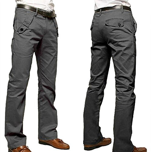 WSLCN Men's Chino Pants Cotton Casual Straight Trouser Solid Color (WITHOUT BELT) Grey 30 W