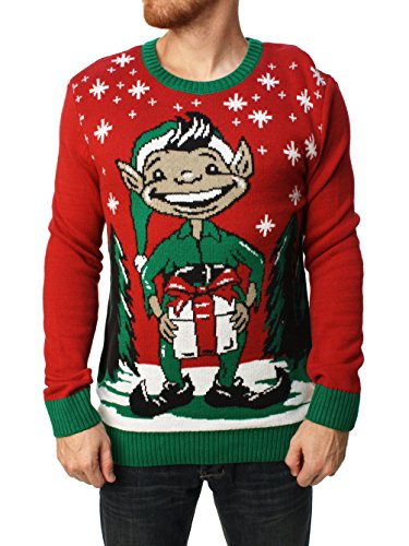 Ugly Christmas Sweater Men's Elf Dick In A Box Pullover Sweater Cayenne