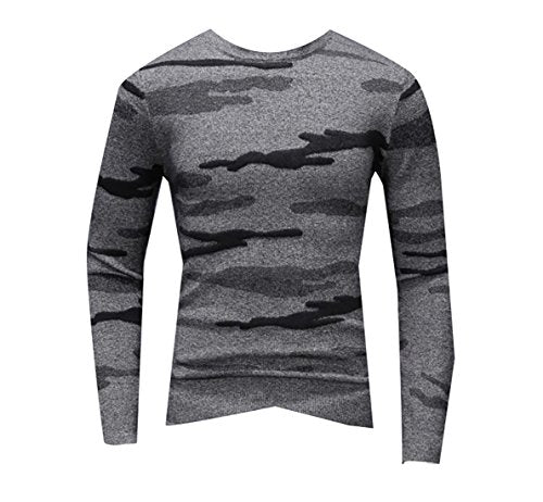 KLJR Mens Casual Winter Thick Round Neck Camouflage Long Sleeve Knitted Sweater Dark Gray US L