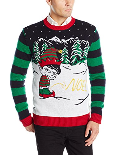 Ugly Christmas Sweater Men's Peeing Elf, Deep Night, Small