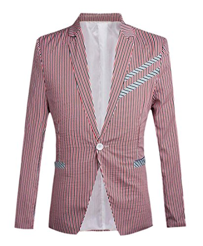 Tootless Men's Stripes Fashion One Button Blazer Jackets Outwear Red XS
