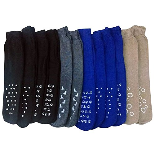 12 Pairs Of excell Mens Non Skid Slipper Socks Assorted Colors Gripper Bottom