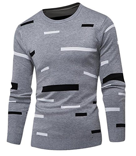 Fulok Mens Color Block Long Sleeve Pullover Knitted Crewneck Sweater Gray XXS