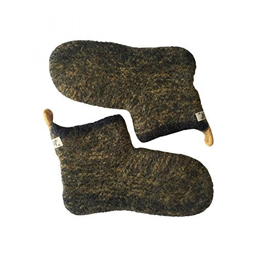 New cozy wool socks/slippers hand-knitted- Size M - Color Navy Blue/Yellow