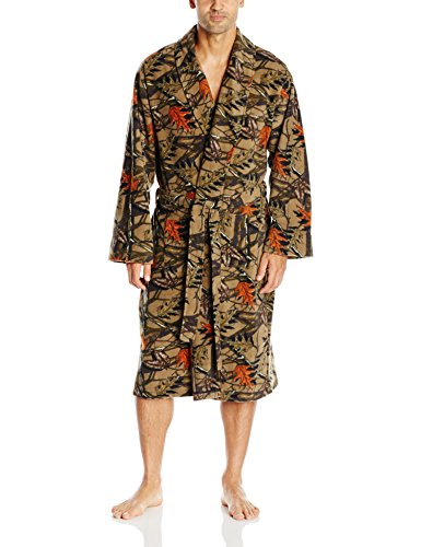 Fruit of the Loom Men's Microfleece Robe, Brown Camo, One Size