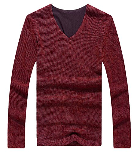Comfy Men's Pullover V-Neck Fitted Solid Thin Outdoors Jacket Red 6X