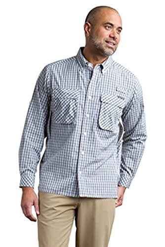 ExOfficio Men's Air Strip Micro Plaid LS Pebble M 2-PACK