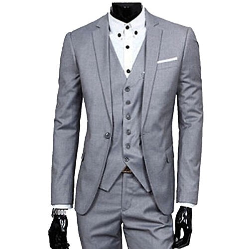 MLT Men's 3-pieces Grey Groom Wedding Suits (L)