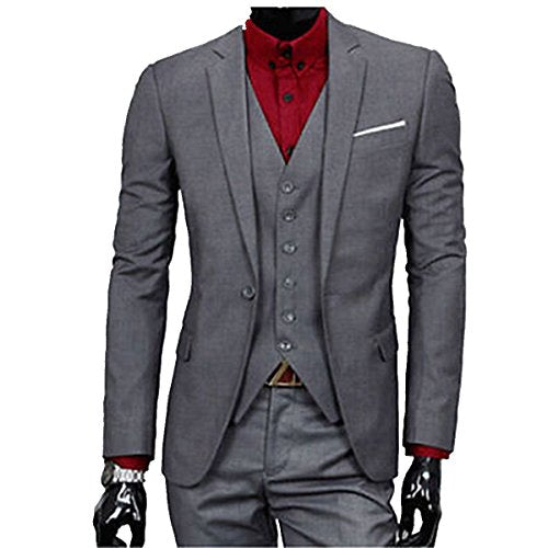 MLT Men's 3-pieces Dark Grey Business Suits (XL)