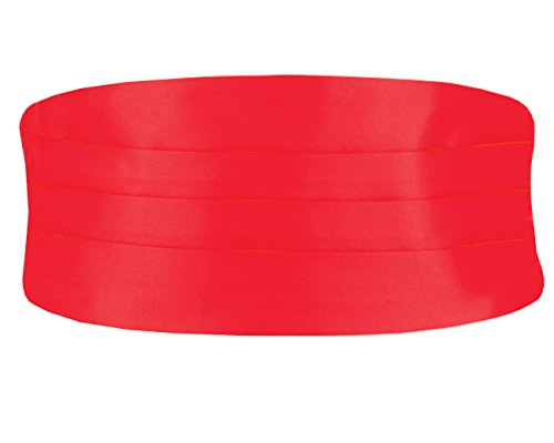 Dobell Mens Formalwear Smart Red Poly Cummerbund Regular Adjustable Waist Regular
