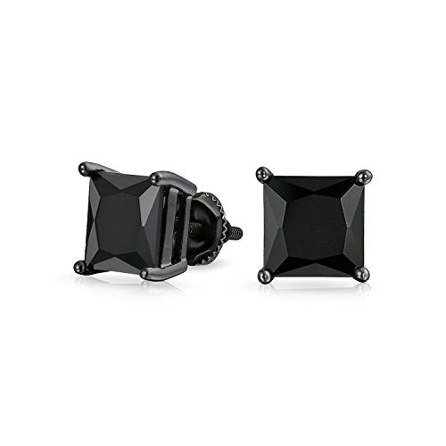 Bling Jewelry 925 Silver Simulated Onyx Square CZ Screw Back Stud Earrings
