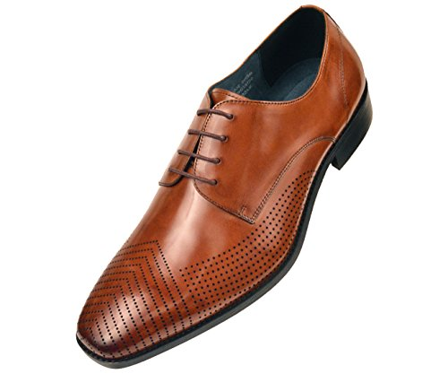 Asher Green Mens Tan Genuine Leather Contemporary Perforated Plain Toe Oxford Dress Shoe : AG7876-028