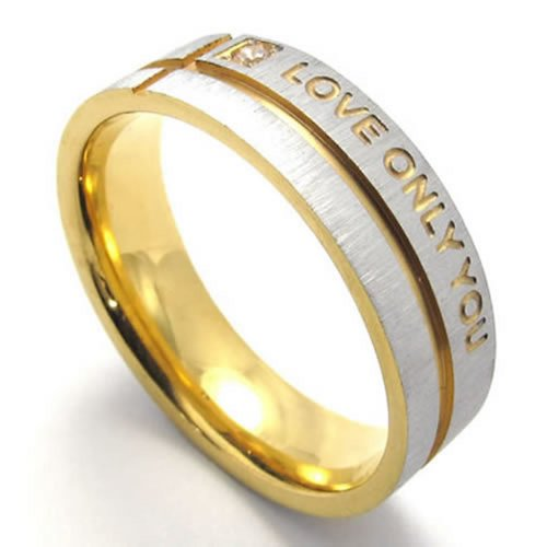 KONOV Mens Stainless Steel LOVE ONLY YOU Promise Ring Wedding Bands, Gold, Size 6