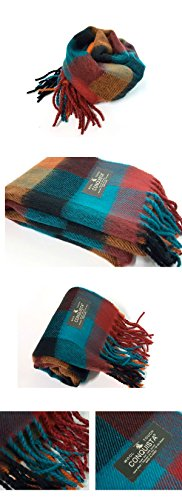 SweetDay Super Soft Wool Touch Feel Winter Plaid Scarf Neck Warmer Muffler Check Stripe Solid Color (SRed)