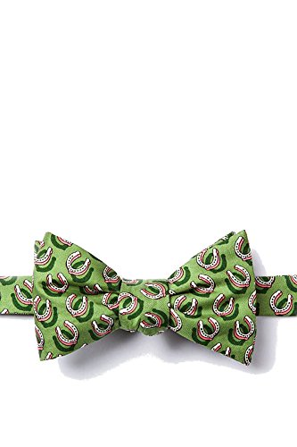100% Silk Green Equestrian Horse Horseshoes Butterfly Self Tie Bow Tie Neckwear