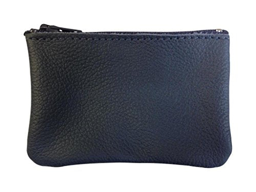 AimTrend Men's Leather Zippered Coin Pouch Change Holder, Navy
