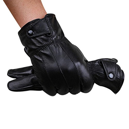Mosunx Mens Luxurious Leather Winter Super Driving Warm Gloves Cashmere (A)