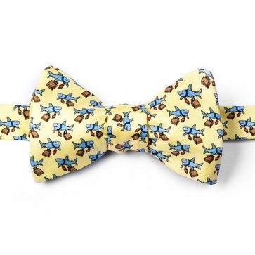 100% Silk Yellow Sharks Dangerous Business Self Tie Bow Tie Bowtie Neckwear