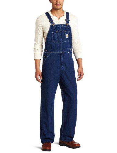 Carhartt Men's Washed Denim Bib Overalls Unlined R07,Darkstone,50 x 30