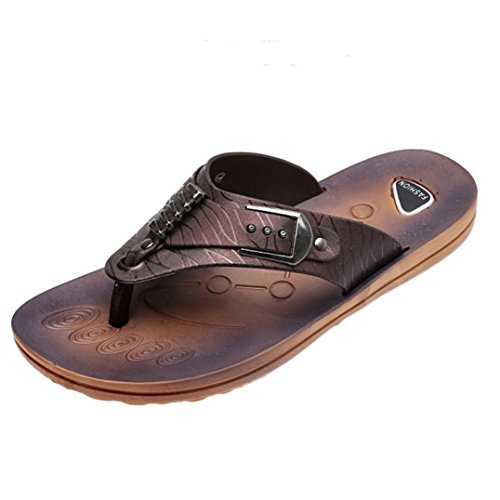 Sikye Men Flip Flops Sandals Summer Wide Band Slipper Rubber Casual Beach Flip-Flops (US: 11, Coffee)