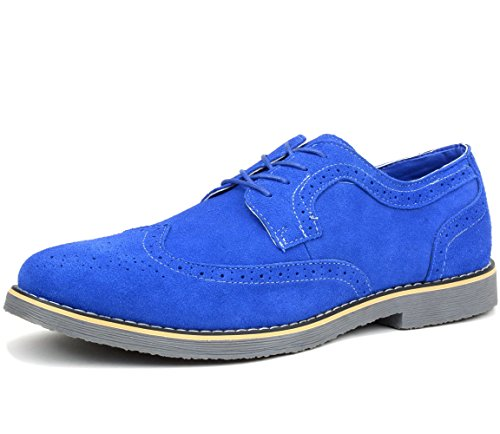 Alpine Swiss Beau Mens Dress Shoes Genuine Suede Wing Tip Oxfords Blue 13 M US