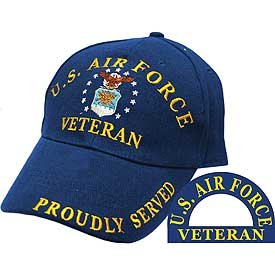 United States Air Force Veteran Proudly Served Blue Hat Cap USAF