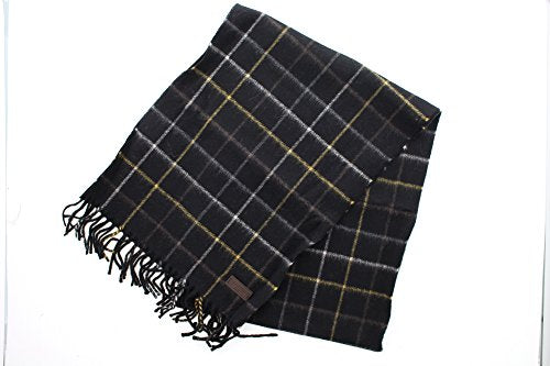 Coach 84085 Men's Tattersall 100% Cashmere Plaid Scarf Black