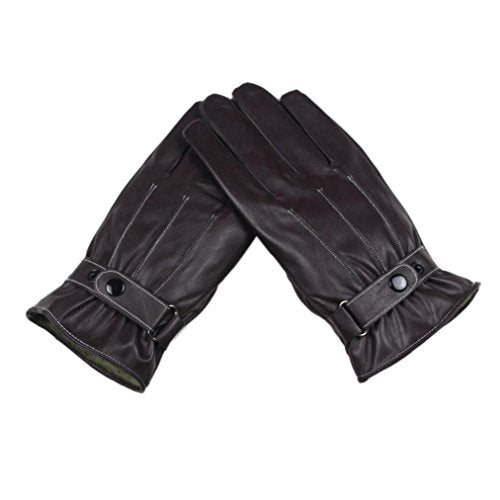 Livoty Mens Luxurious PU Leather Winter Super Driving Warm Gloves Cashmere (coffee)
