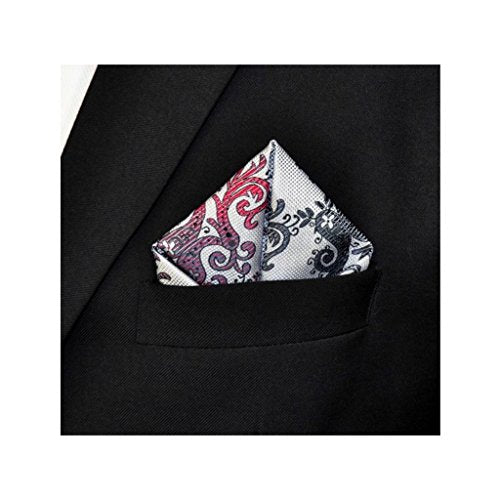 Mens Red Gray Grey Jacquard Woven Handkerchief Pocket Square