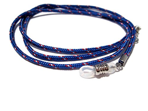 ATLanyards Blue with Maroon & White Paracord Eyeglass Lanyard Cord, Clear Grips 316
