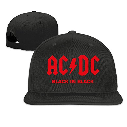 ACDC Black In Black Fitted Flat Bill Hats Caps Black