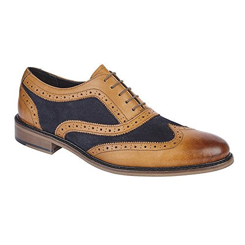 Roamers Mens Leather And Suede 5 Eye Wing Cap Oxford Brogue Shoe (10 US) (Tan/Navy)