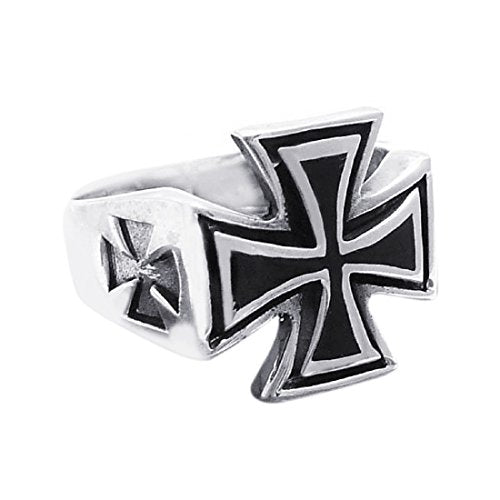 Solid Maltese Iron Cross Enamel .925 Sterling Silver Ring (11)