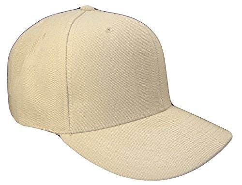 Plain Solid Fitted Curved Bill Baseball Cap (Khaki Tan, Size 7 1/2)