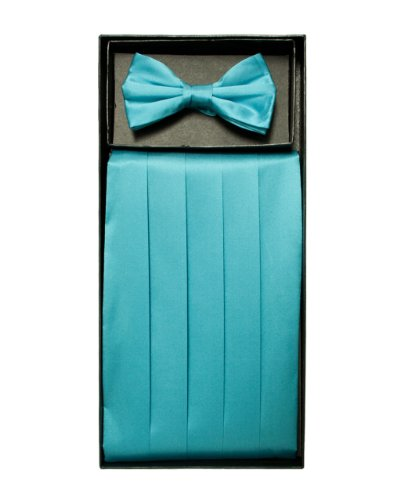 Aqua Blue Solid Cummerbund and Bow Tie Set