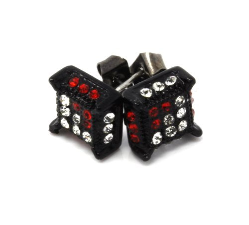 Mens Black Tone Clear/Red Cz Cube Iced Out Hip Hop Micro Pave Stud Earrings