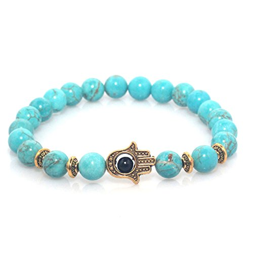 Hand of Hamsa Charm Marble Stone Bracelet (Teal Gold)