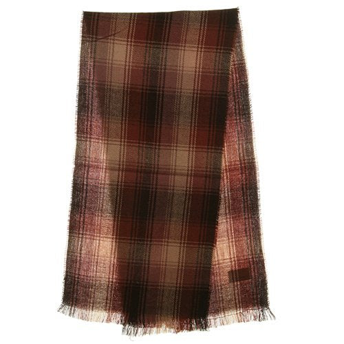 Acrylic Plaid Muffler - Brown